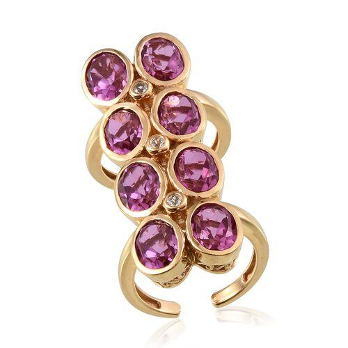 Kunzite Colour Quartz (Ovl), White Topaz Ring in 14K Gold Overlay Sterling Silver 12.000 Ct.