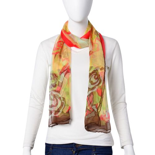 100% Mulberry Silk Green, Red, Brown and Multi Colour Rose Flower Pattern Scarf (Size 170x50 Cm)