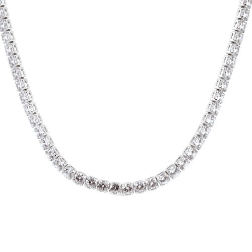 Close Out Deal - AAA Simulated Diamond (Rnd) Tennis Necklace (Size 18) in Silver Bond