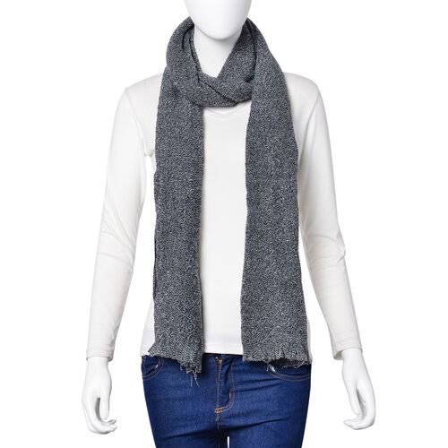 Black Colour Knitted Scarf with Fringes (Size 190X55 Cm)