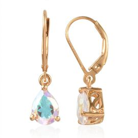 Mercury Mystic Topaz (Pear) Lever Back Earrings in 14K Gold Overlay Sterling Silver 2.400 Ct.