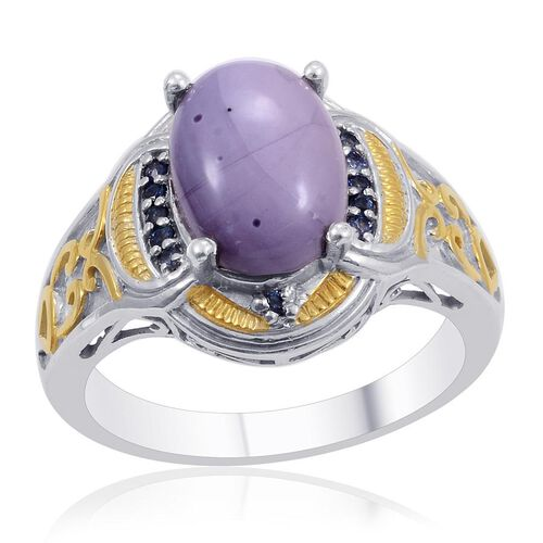Designer Collection Utah Tiffany Stone (Ovl 4.95 Ct), Kanchanaburi Blue Sapphire Ring in 14K YG and Platinum Overlay Sterling Silver 5.190 Ct.