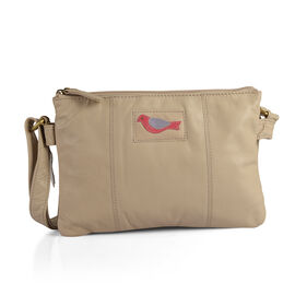 Limited Collection Genuine Leather RFID Blocker Beige Colour Bird Handbag with External Zipper Pocket and Adjustable Shoulder Strap (Size 29X20X4 Cm)
