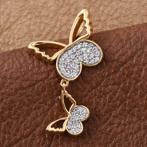 Kimberley Butterfly Collection Natural Cambodian Zircon (Rnd) Butterfly Pendant in 14K Gold Overlay Sterling Silver 0.500 Ct.