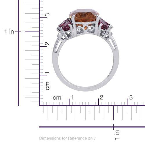 Alexite (Cush 6.00 Ct), Rhodolite Garnet Ring in Platinum Overlay Sterling Silver 8.000 Ct.