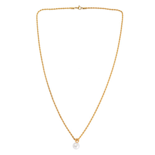 White Plastic Pearl Necklace (Size 24) in ION Plated Yellow Gold Stainless Steel