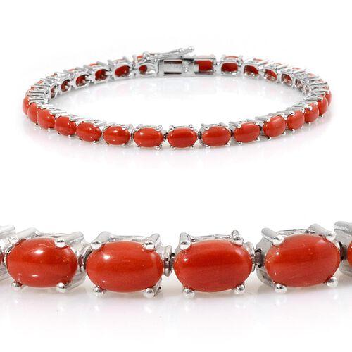 Natural Mediterranean Coral (Ovl) Tennis Bracelet in Platinum Overlay Sterling Silver (Size 7.5) 11.000 Ct.