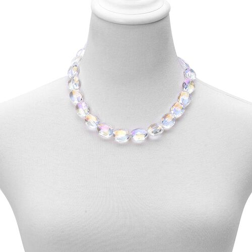 White Glass Necklace (Size 21 with Extender) in Stainless Steel