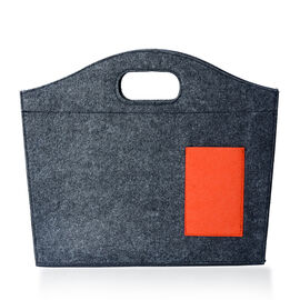 Dark Grey Colour Felt Bag with Orange Colour External Pocket