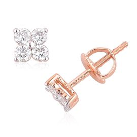 ILIANA 18K Rose Gold IGI Certified Diamond (Rnd) (SI G-H) Stud Earrings (with Screw Back) 0.500 Ct.