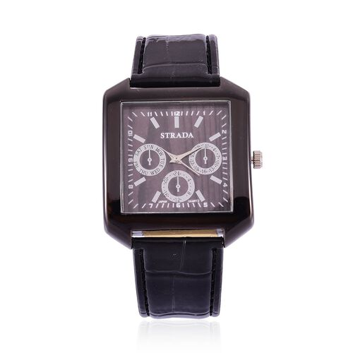 STRADA Japanese Movement Wood Pattern Black Dial Water Resistant Watch in Black Tone with Stainless Steel Back and Black Strap