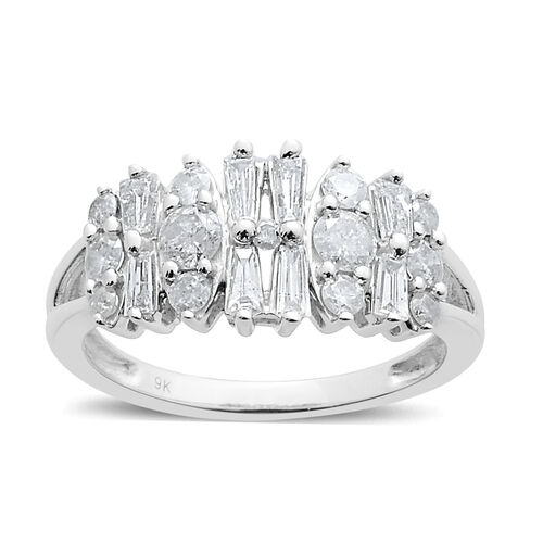 9K W Gold SGL Certified Diamond (Bgt) (I3/ G-H) Ring 1.000 Ct.