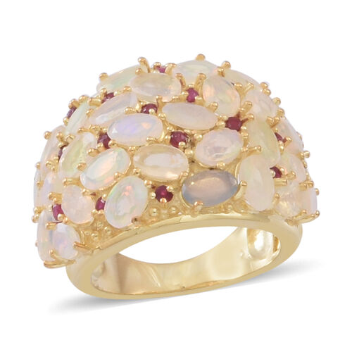 Ethiopian Welo Opal (Ovl), Burmese Ruby Cluster Ring in 14K Gold Overlay Sterling Silver 5.000 Ct.