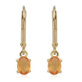 Yellow Sapphire (Ovl) Lever Back Earrings in 14K Gold Overlay Sterling Silver 1.250 Ct.