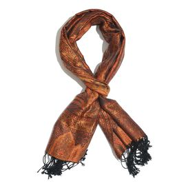 SILK MARK - 100% Superfine Silk Orange, Black and Multi Colour Jacquard Jamawar Scarf with Fringes at the Bottom (Size 180x70 Cm) (Weight 125- 140 Gms)