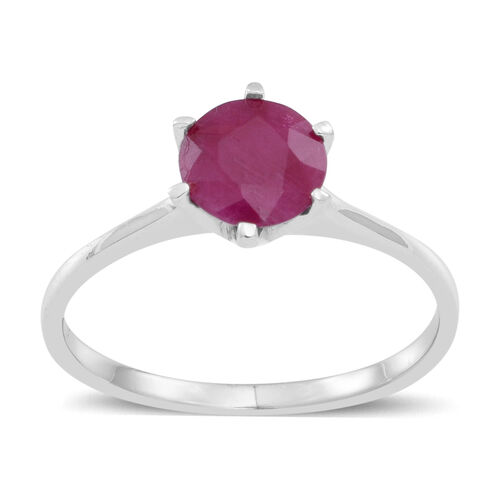 9K W Gold Burmese Ruby (Rnd) Solitaire Ring 1.500 Ct.