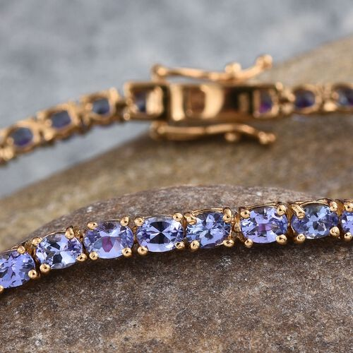 Tanzanite (Ovl) Tennis Bracelet (Size 7.5) in 14K Gold Overlay Sterling Silver 8.000 Ct.