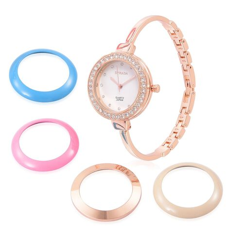 STRADA Japanese Movement White Austrian Crystal Studded Watch in Rose Gold Tone with Multi Colour Interchangeable Bezels