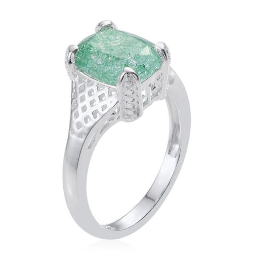 Green Crackled Quartz (Cush) Solitaire Ring in Sterling Silver 2.750 Ct.