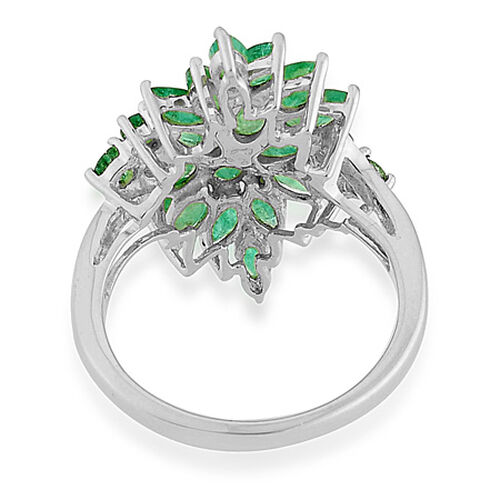 9K W Gold Kagem Zambian Emerald (Pear) Cluster Ring  2.510 Ct.