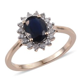 9K Y Gold Kanchanaburi Blue Sapphire (Ovl 1.50 Ct), Diamond Ring 1.900 Ct.