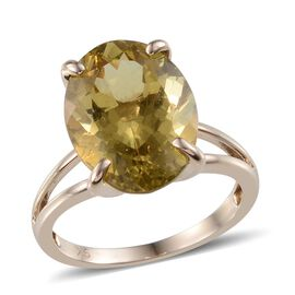 9K Y Gold Natural Madagascar Yellow Apatite (Ovl) Solitaire Ring 8.500 Ct.