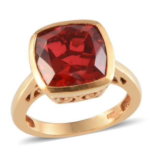 Ruby Quartz (Cush) Solitaire Ring in 14K Gold Overlay Sterling Silver 5.250 Ct.