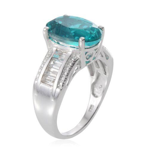 Capri Blue Quartz (Ovl 6.75 Ct), White Topaz Ring in Platinum Overlay Sterling Silver 8.000 Ct.