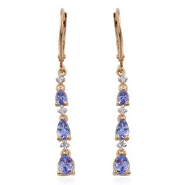Tanzanite (Pear), Natural Cambodian Zircon Lever Back Earrings in 14K Gold Overlay Sterling Silver 1.250 Ct.
