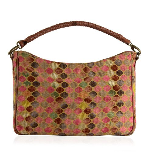 Tan and Multi Colour Jacquard Handbag with Removable Strap (Size 44x25x10 Cm )