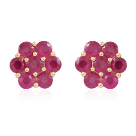 Limited Edition-ILIANA 18K Y Gold AAAA Pigeon Blood Colour Burmese Ruby (Rnd) Floral Stud Earrings (with Screw Back) 5.000 Ct.