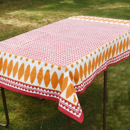 100% Cotton Orange, Red and White Colour Hand Block Printed Table Cloth (Size 150x150 Cm)