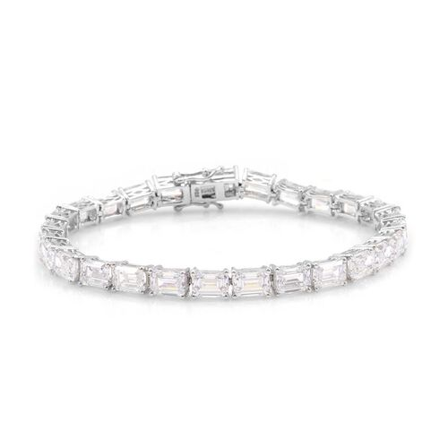 J Francis - Platinum Overlay Sterling Silver (Oct) Bracelet Made with SWAROVSKI ZIRCONIA (Size 8)