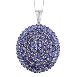 Tanzanite (Ovl) Cluster Pendant With Chain in Platinum Overlay Sterling Silver 18.250 Ct.