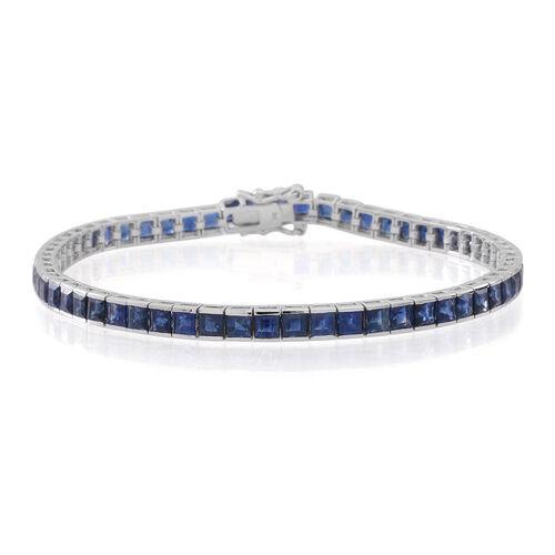 9K White Gold Kanchanaburi Blue Sapphire (Sqr) Tennis Bracelet (Size 7.5) 10.500 Ct.