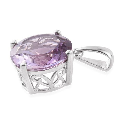 Rose De France Amethyst (Rnd) Solitaire Pendant in Platinum Overlay Sterling Silver 6.750 Ct.
