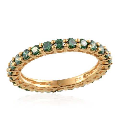 J Francis - Yellow Gold Overlay Sterling Silver (Rnd) Full Eternity Ring Made with Green SWAROVSKI ZIRCONIA