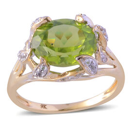 9K Y Gold AAA Hebei Peridot (Ovl 4.00 Ct), White Topaz Ring 4.250 Ct.