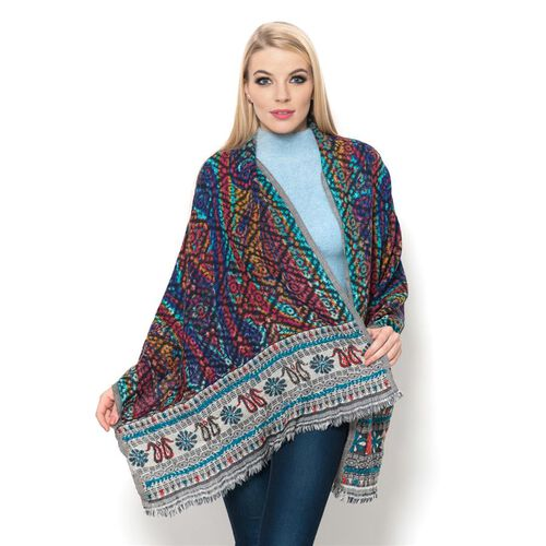 Hand Woven 100% Merino Wool Paisley and Floral Pattern Red, Blue and Multi Colour Thick and Fluffy Scarf (Size 180x65 Cm)