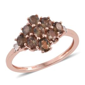 Brazilian Andalusite (Ovl), Diamond Cluster Ring in Rose Gold Overlay Sterling Silver 1.750 Ct.