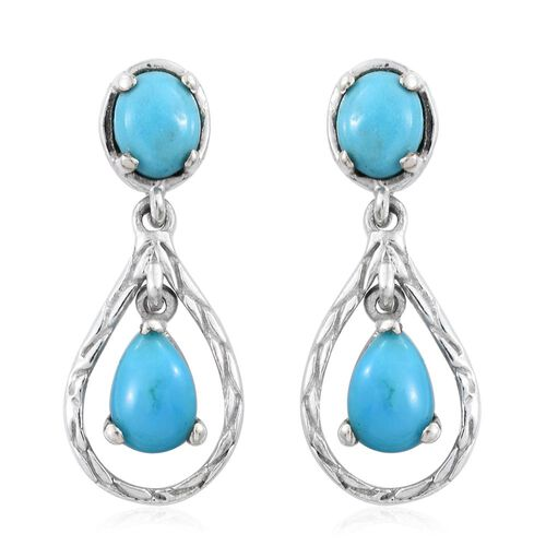Arizona Sleeping Beauty Turquoise (Pear) Drop Earrings (with Push Back) in Platinum Overlay Sterling Silver 1.500 Ct.