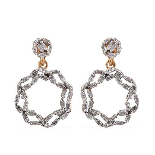Designer Inspired- Diamond (Bgt) Earrings (with Push Back) in 14K Gold Overlay Sterling Silver 0.330 Ct.
