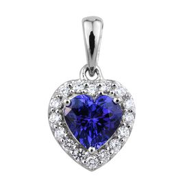 RHAPSODY 950 Platinum AAAA Tanzanite (Hrt 1.35 Ct), Diamond Pendant 1.600 Ct.