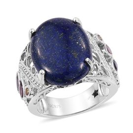 GP Lapis Lazuli (Ovl 20.75 Ct), Russian Diopside, Amethyst, Rhodolite Garnet, Citrine and Kanchanaburi Blue Sapphire Ring in Platinum Overlay Sterling Silver 22.000 Ct.