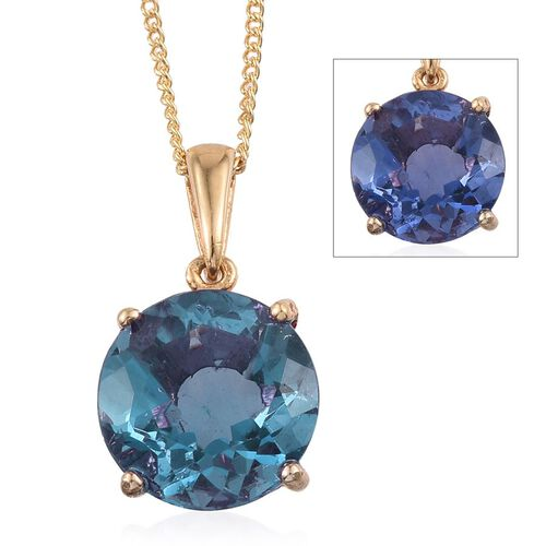 Colour Change Fluorite (Rnd) Solitaire Pendant With Chain in 14K Gold Overlay Sterling Silver 4.000 Ct.
