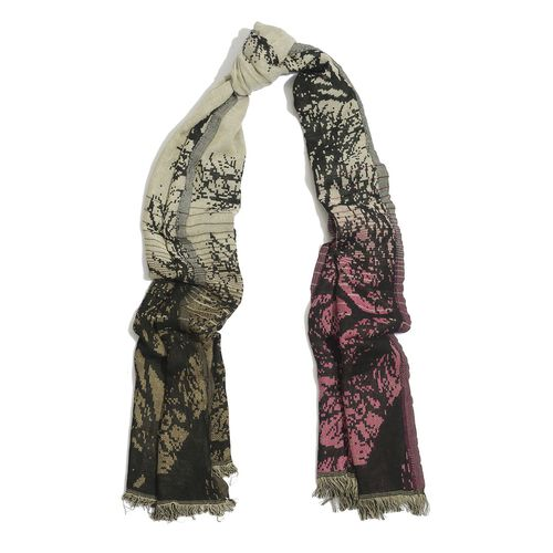 Black Colour Branches Pattern Multi Colour Scarf (Size 180x70 Cm)
