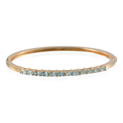 Paraibe Apatite (Ovl) Bangle (Size 7.5) in ION Plated 18K Yellow Gold Bond 3.000 Ct.