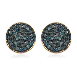 0.33 Carat Blue Diamond Stud Earrings (with Push Back) in 14K Gold Overlay Sterling Silver