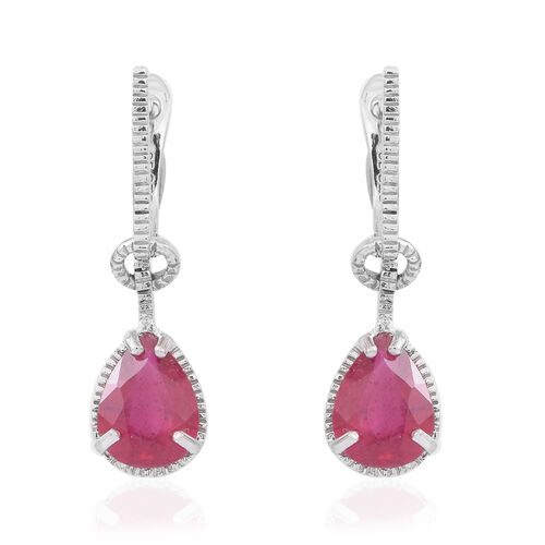 AAA African Ruby (Pear) Earrings (with Clasp) in Rhodium Plated Sterling Silver 4.000 Ct.