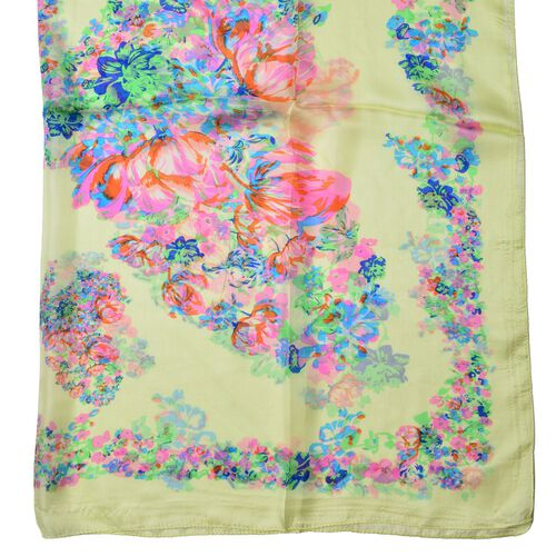 100% Mulberry Silk Lime and Multi Colour Floral Pattern Scarf (Size 180x110 Cm)
